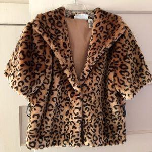 Jackets & Blazers - Cropped Faux Fur Leopard Jacket